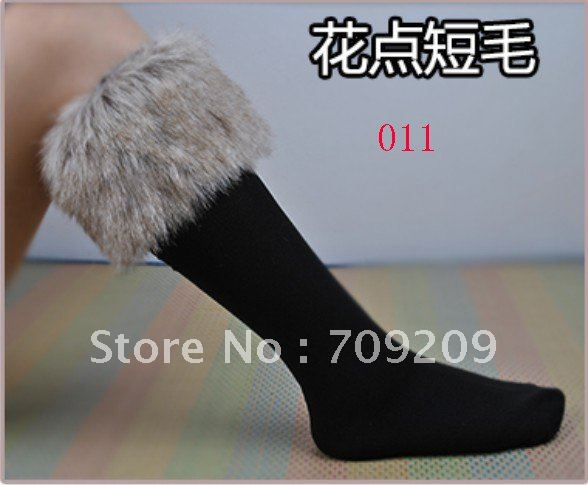 011 Short Fur Socks Hot Sexy blended cotton socks Faux Fur Cover Boot shoes Stockings