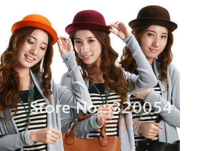 1 pcs,Autumn and winter adult men and women of pure wool hats, England Vintage Wool bowler caps, multicolor, free shipping