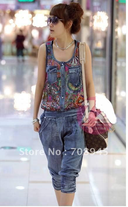 1 Piece Best Selling!! New geometric pattern denim vest jumpsuits+Free shipping