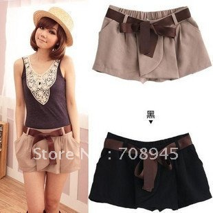 1 Piece Best Selling!! Small Waist Trousers Pure Color Overalls and Belt Leisure Mini Shorts+Free shipping