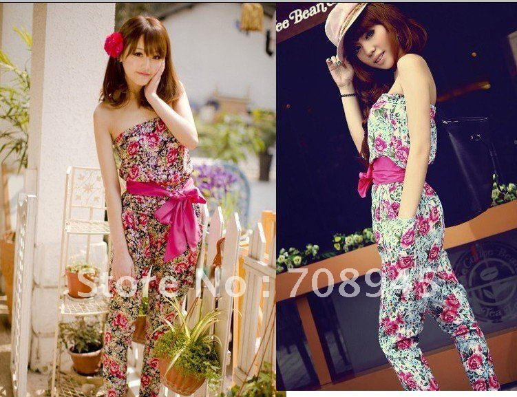1 Piece Best Selling!! women rose floral jumpersuit off shoulder romper+Free shipping