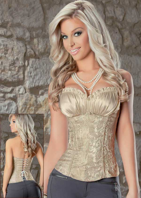 1 Piece Free Shipping 2012 Hot Sell Sexy Creamy Satin Lace Corset Top Shapers,S/M/L/XL/XXL Size,FWO5242