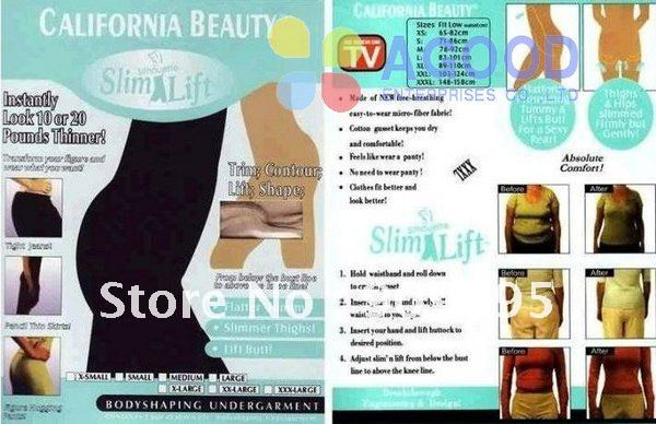 10 PCS California Beauty Slim Lift/Slim N Lift/Slim Pants, slimming Lift,Body Shaper Beige and black SL02