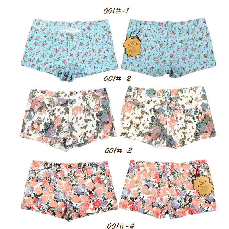 100% cotton denim 2013 spring and summer sweet women's plus size vintage low-waist print shorts