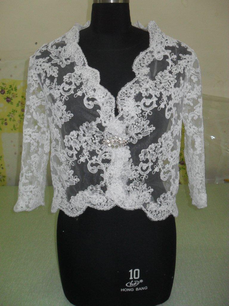 100% High Quality Long Sleeves Alencon Lace Jacket White Ivory Red Bridal Bolero Jacket Shawl SZ 2 4 6-8-10 12 14 16+Custom