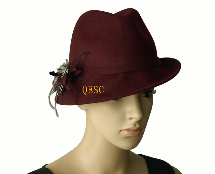 100% Wool felt hat with feathers,one side up brim.FREE SHIPPING.