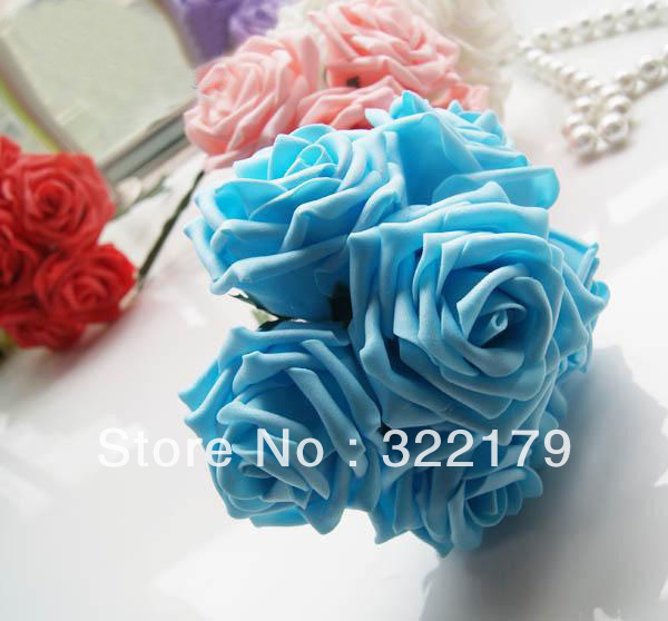 100X  Bulk Blue Artificial Flowers Fake Roses For Wedding Artificial Flower Arrangements Centerpiece Floral Crafts Wholesale Lot