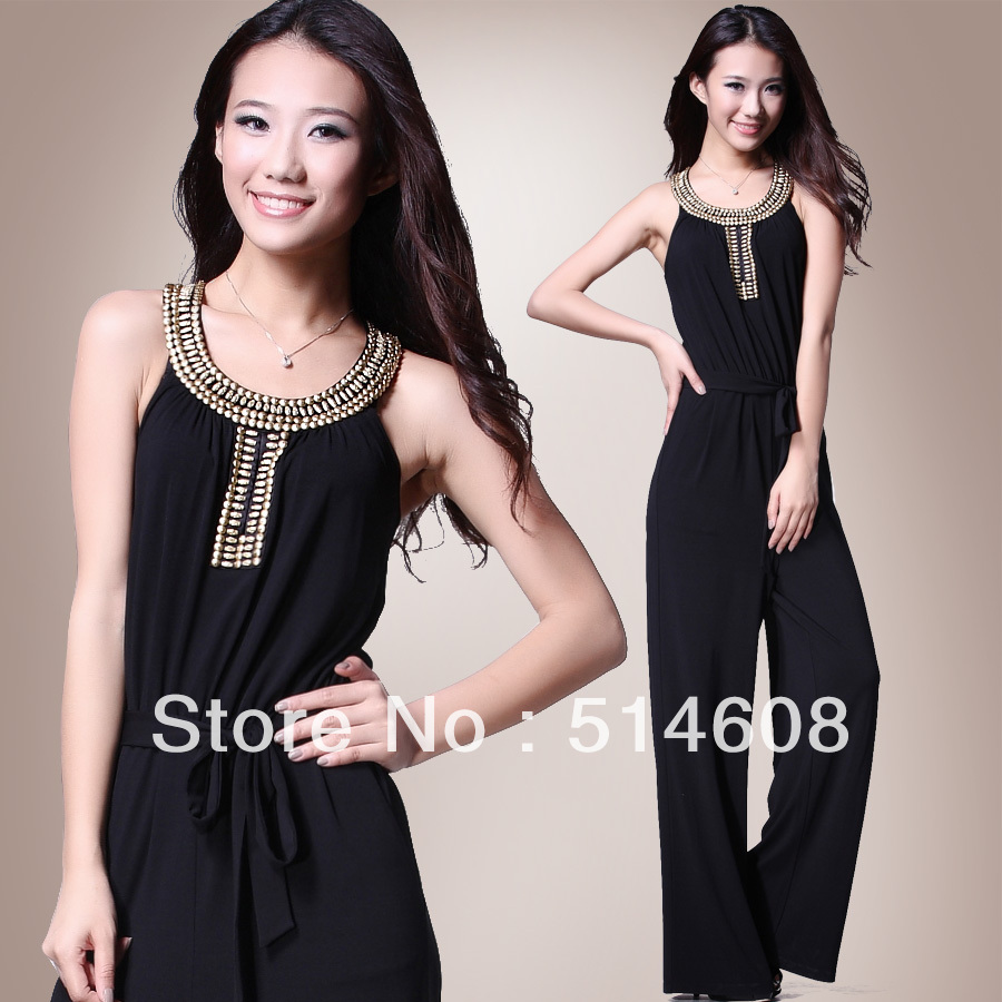 #10100 Exported quality polyester fiber and spandex beaded rivets thin jumpsuit bodysuit