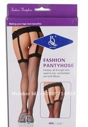 1029 Fashion Sexy Net Black Sheer Garter Belt Stockings Pantyhose (Black)