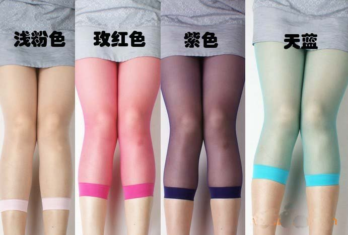 10pairs/lot Summer Cany Color Ultra-thin tight pantyhose stockings for Women Leggings Capris socks seven pant Free shipping 181