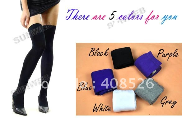 10pcairs/lot Hot sale! Women Fashion Over The Knee Socks Thigh High Sexy Cotton Stocking Thinner 5 Colors Free Shipping 3226