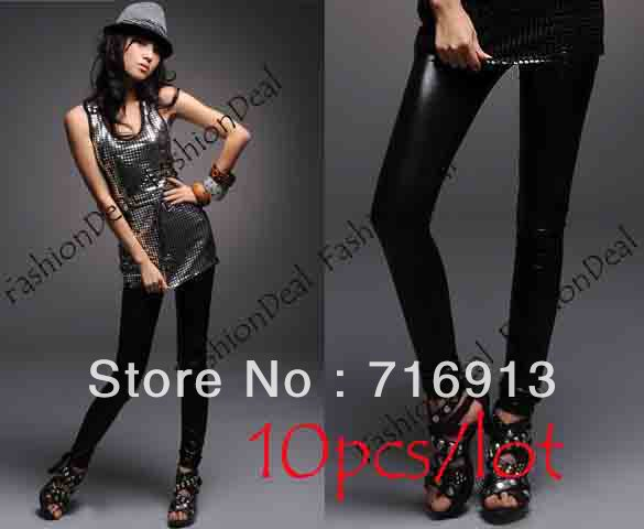 10pcs/lot Fashion Black Faux leather leggings Ladies' Leggings Shiny Pants Tights Pants free shipping 1967