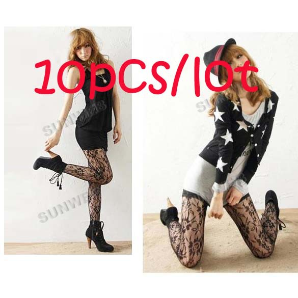 10pcs/lot free shipping Black Fishnet Sexy Fashion Slimming Solid Hosiery Rose Lace Pantyhose Tights Women's Lady's Socks 6133