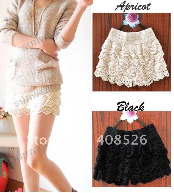 10PCS/LOT Free shipping Sweet Lace Crochet Flower Shorts leggings / Hot pants Black beige color Retail Wholesale 3787