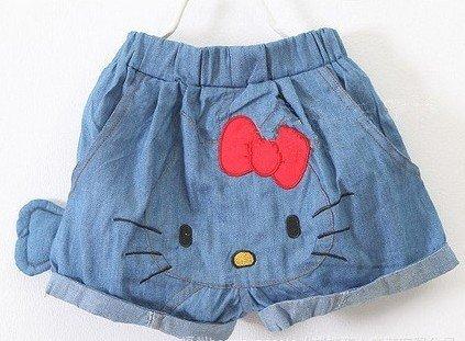 10pcs/lot summer short pants girls hello kitty shorts kids sweet washed jeans cartoon short jeans Free shipping