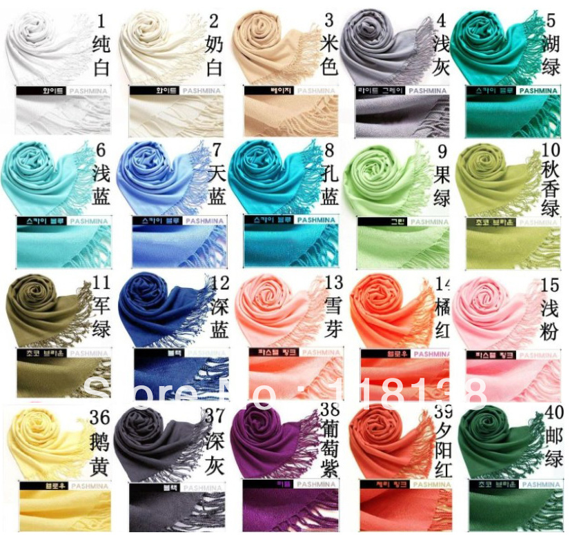 10pieces/lot Women's Pashmina Acrylic scarf Wrap Shawl scarves 40 Colors, Free Shipping