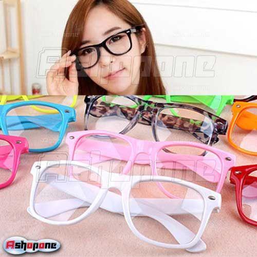 10xFashion Retro Vintage Unisex Clear Lens Wayfarer Nerd Geek Glasses 14 Colors Free Shipping