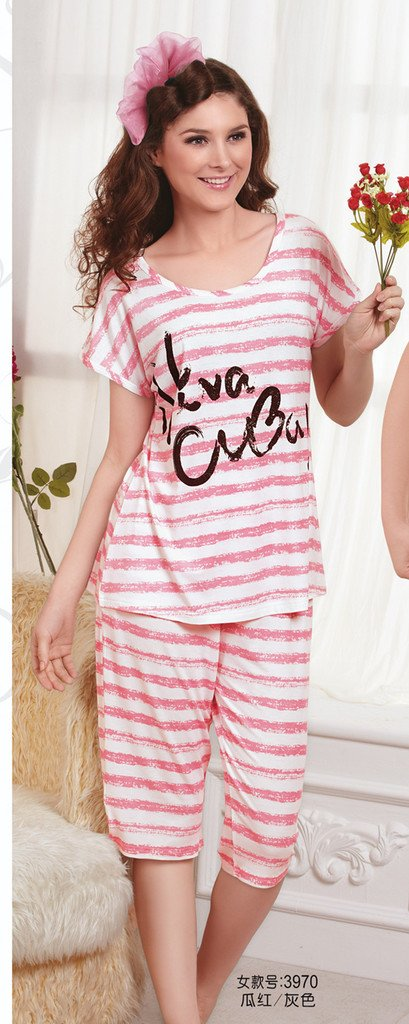 110 soft knitted 100% cotton women's sleep set lounge 3970