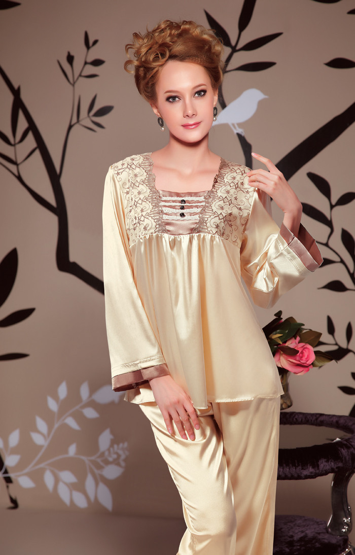 110 spring and summer long sleeve length pants luxurious and noble silk female sleepwear lounge 831