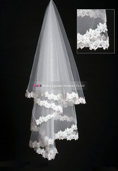 1120-1hs Hot Sale In Stock High Quality Lace Edge White Bride Wedding Dress bridal Accessories One Layer Bridal Veil