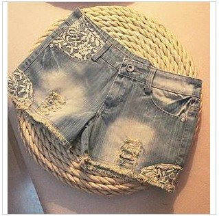 1128 Korean women's 2011 spring summer limited edition nail lace Willow denim shorts