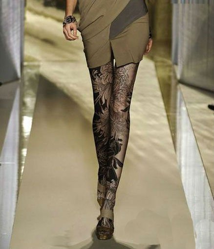 120D New flower pattern Tattoo socks pantyhose Stockings Tights Leggings