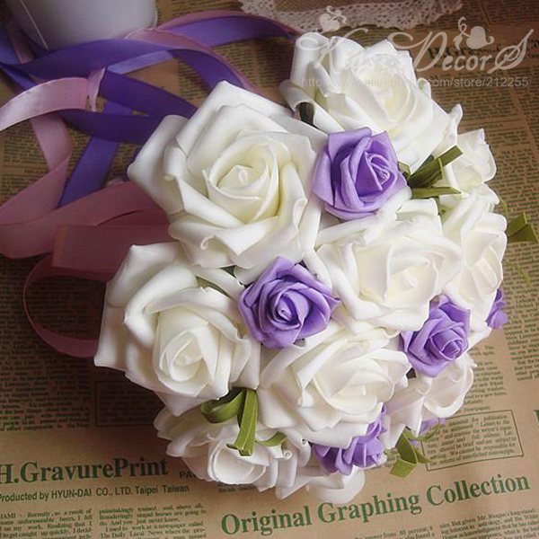 12PCS Artificial white rose with several pieces purple rose Bride or Bridesmaid  wedding bouquets Free shipping