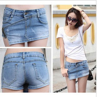 13 spring and summer new retro blue lace do old denim shorts fringed denim hot pants 3210