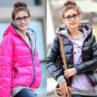 146 2011 glossy thermal wadded jacket long-sleeve hooded outerwear