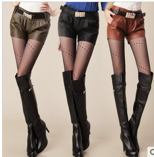 1619 # Korean version of Slim hip in the lumbar matt washed PU leather shorts, hot pants, casual pants (Belt)