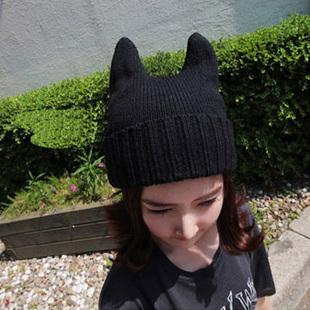 17 horn cap female knitted hat knitted hat devil hat female 85g