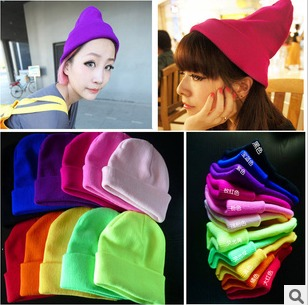 19 candy color gd neon knitted hat hip-hop cap hiphop pullover knitted hat bboy cap