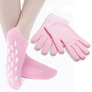 (1pair Gel Socks+1pair Gel Gloves) Moisturize Soften Repair Cracked Skin Moisturizing Treatment Gel Spa Socks/Gloves