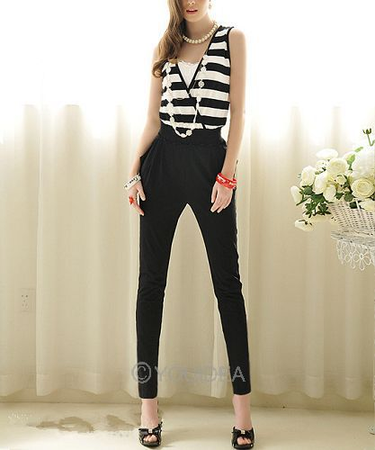 1pc New 2013 4 size for choose Fashion Ladies Black & White Stripes Slim Sleeveless Jumpsuit Casual Rompers 70304-70307