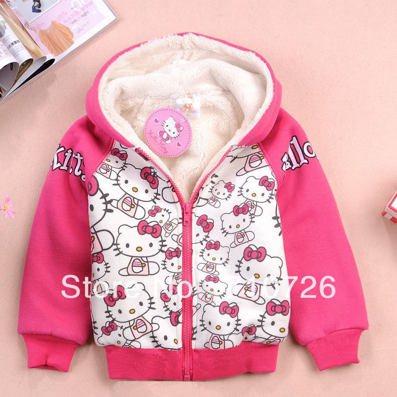 1PC Retail,Free shipping,Top warm cute kirry style berber fleece thicken coat(95-140),girl's top shirts Hooded Sweater hoodie