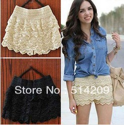 1pcs free shipping 2013 new multi-layer lace cutout crochet shorts solid color sexy  pantskirt safety pants dressy shorts