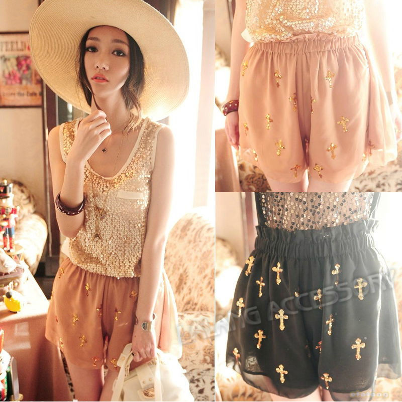 1piece/lot Fashion Sexy Women Shiny Latin Cross Sequins Georgette Chiffon Skirt Culottes Pants Shorts 650638
