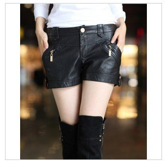 2,814 Korean women in autumn and winter 2011 new style low waist shorts hot pants Korean fashion ladies leather pants