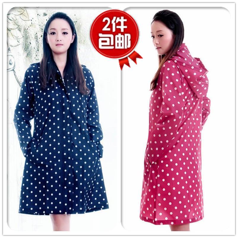 2 ! fashion breathable waterproof adult raincoat poncho polka dot raincoat 1005