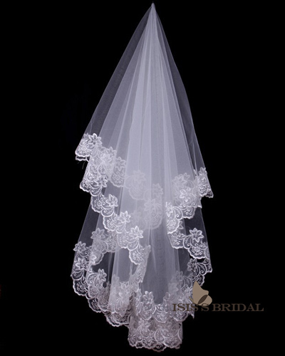 2 Layer Cathedral Wedding Veils With Lace Applique Edge Free Shipping