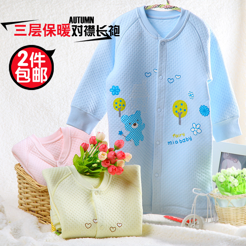 2 lengthen version of autumn and winter cotton soft cotton 100% cotton thermal underwear baby robe baby child sleepwear