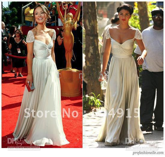 2008 olivia wilde jessica szohr Reem acra floor spring 2008 beaded cap sleeve gownRed Carpet Gowns