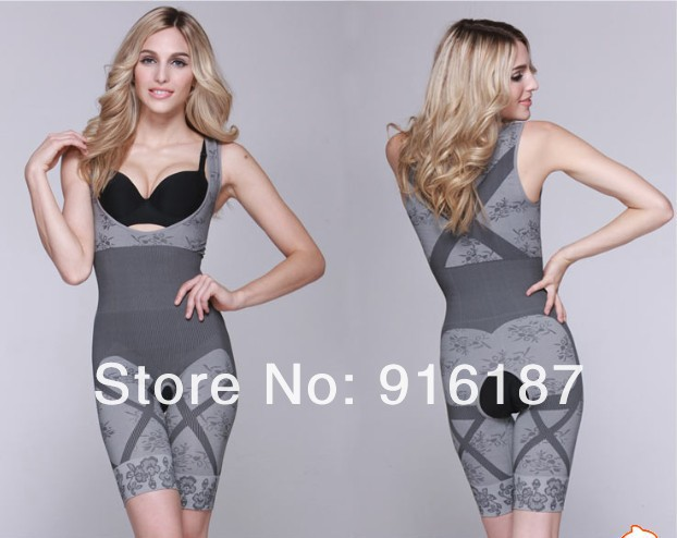 200PCS Magic Women Natural Bamboo Charcoal Slim Suits Bodysuit Slimming Body Shaper Butt Lifter Underwear With OPP Bag, Via DHL