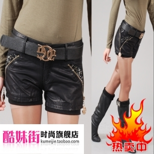 2011 autumn and winter mid waist leather shorts female PU shorts boot cut jeans female leather pants