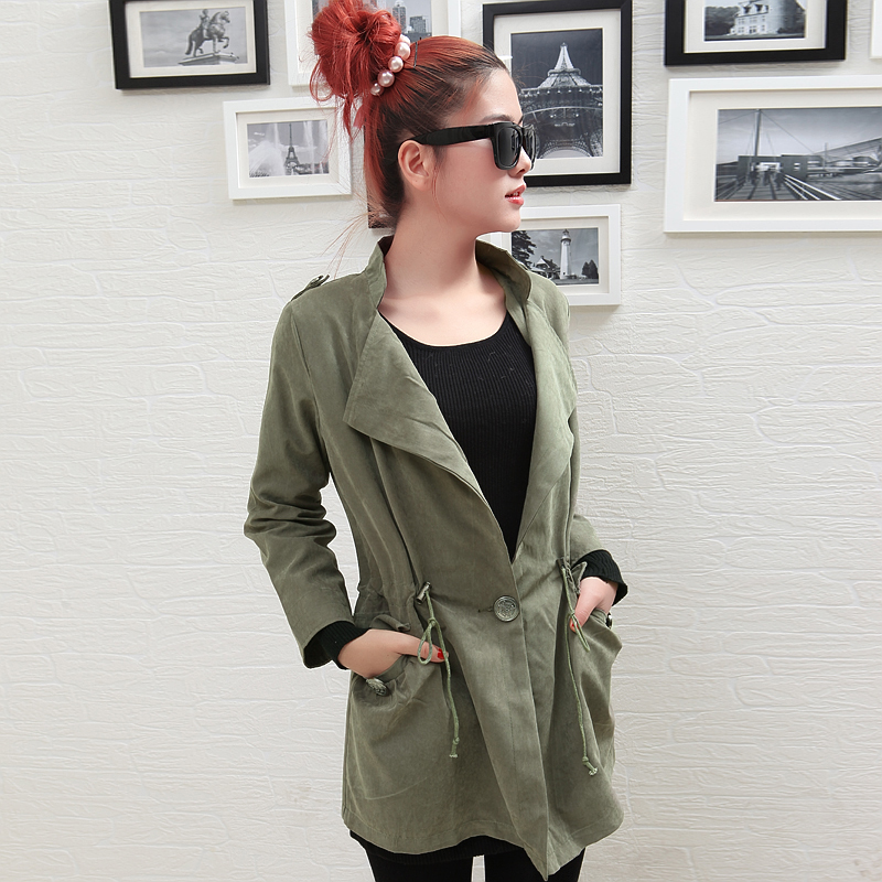 2011 new arrival women's plus size thin slim Army Green trench outerwear ww1632