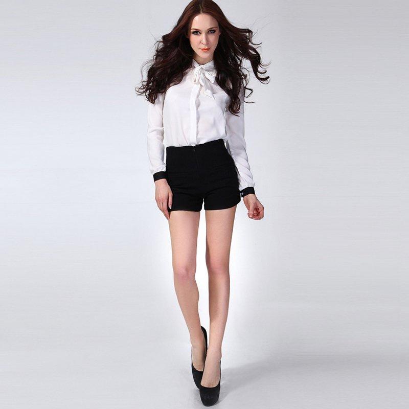2011 winter vintage female autumn  winter fashion high waist plus size black woolen boot cut jeans shorts PL12073003