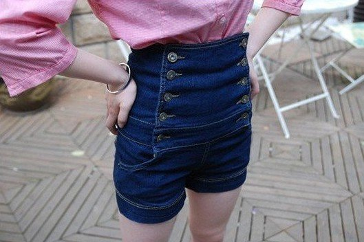 2011NEW euramerican wind aureate buttons show tall waist jeans female shorts