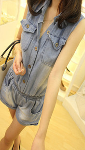 2012 all-match casual double pocket water wash denim one piece shorts female