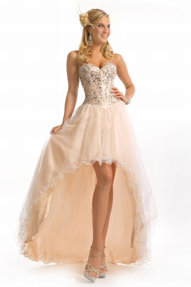 2012 Amazing Organza Strapless Ruffled Handwork Sequin High Low Train Backless Celebrity Gown Evening Dresses Prom Dress