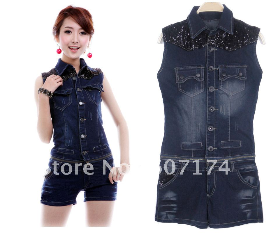 2012 American Trend Stylish Women Removable skinny Denim Vest jacket&shorts casual jumpsuit size:S-L #1697
